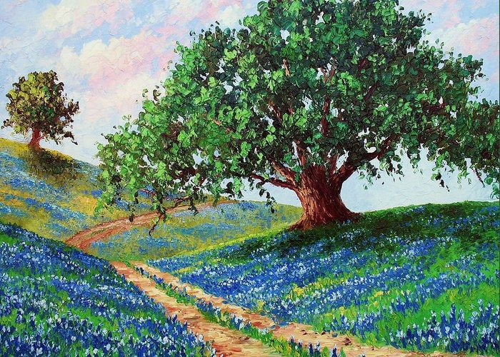 Bluebonnet Greeting Card featuring the painting Bluebonnet Road by David G Paul