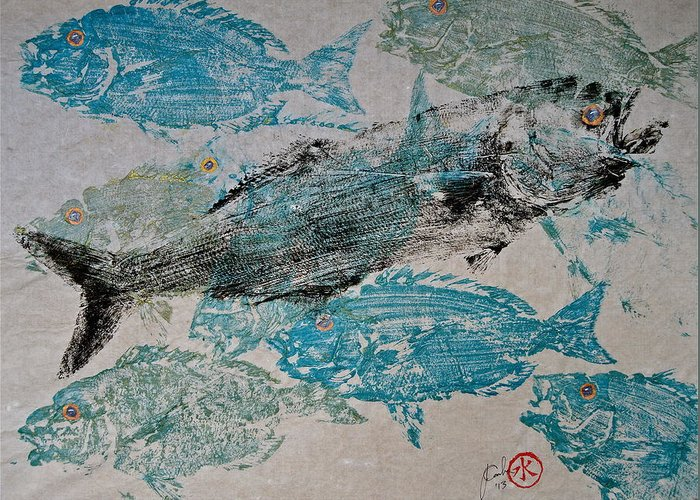 Bluefish Greeting Card featuring the mixed media Bluefish Delight - Lunchtime by Jeffrey Canha