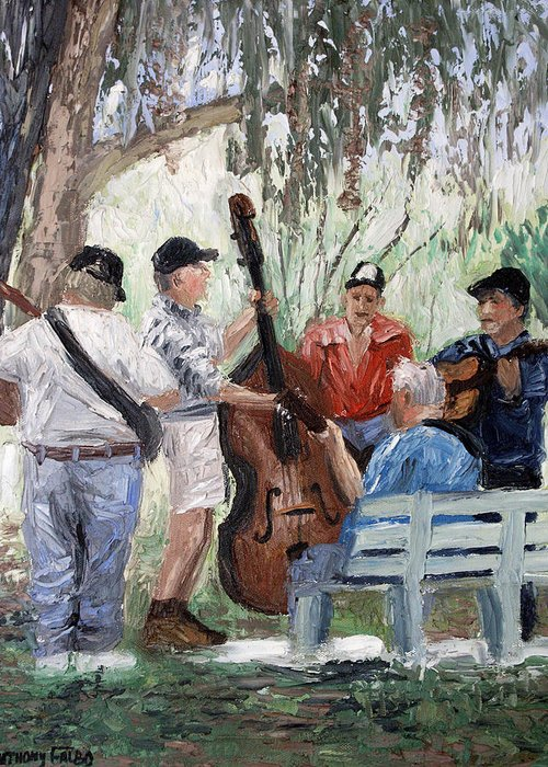 Bluegrass In The Park Framed Prints Greeting Card featuring the painting Bluegrass In The Park by Anthony Falbo