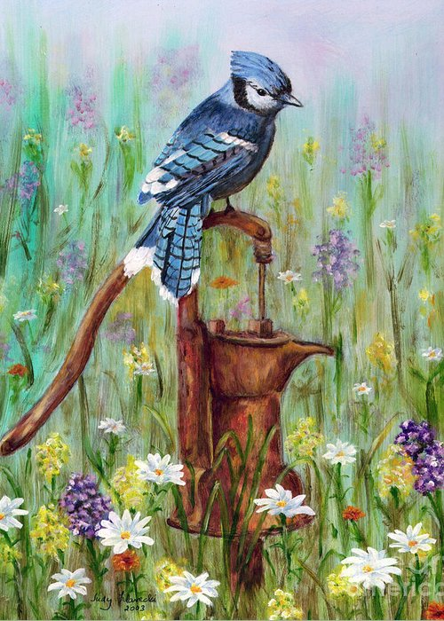 Blue Jay Greeting Card featuring the painting Bluejay Peaceful Perch by Judy Filarecki