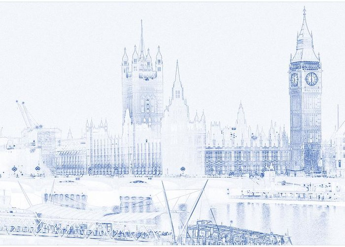modern architecture blueprints commercial building architectural blueprint font greeting card featuring the painting drawing of modern building london big ben tower