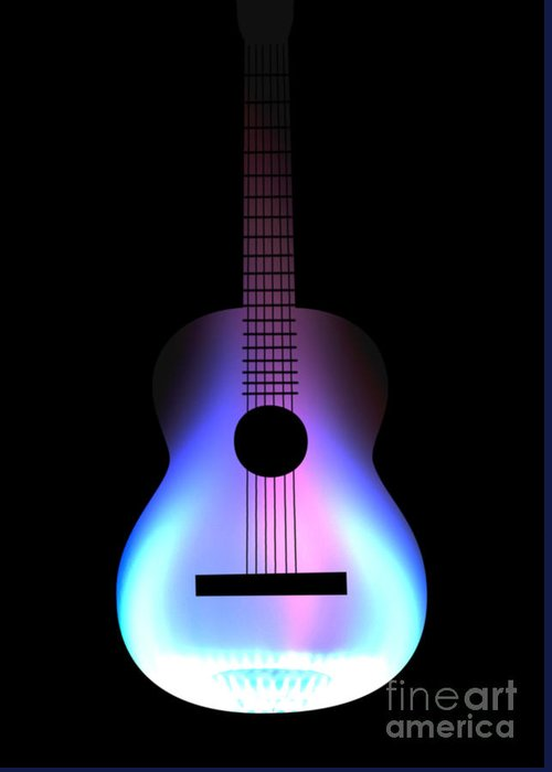Acoustic Guitar Greeting Card featuring the digital art Blues Guitar On Fire by Andy Smy