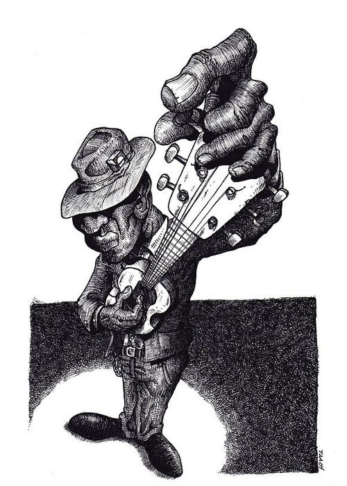 Blues Greeting Card featuring the drawing Blues Guitar by Tobey Anderson