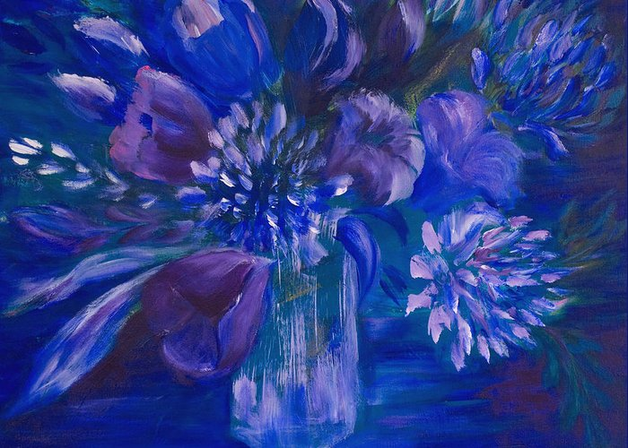 Tulips Greeting Card featuring the painting Blues To Brighten Your Day by Joanne Smoley