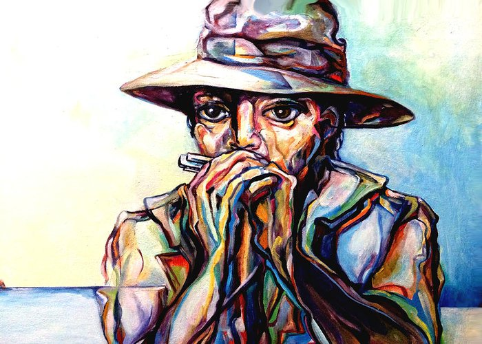 Lloyd Deberry Greeting Card featuring the painting Blues Traveler by Lloyd DeBerry