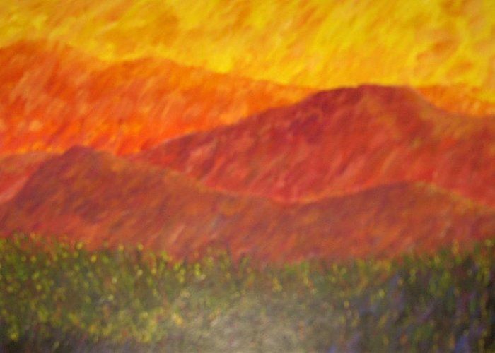 Landscape Hills Mountains Bright Greeting Card featuring the painting Blur by Sally Van Driest