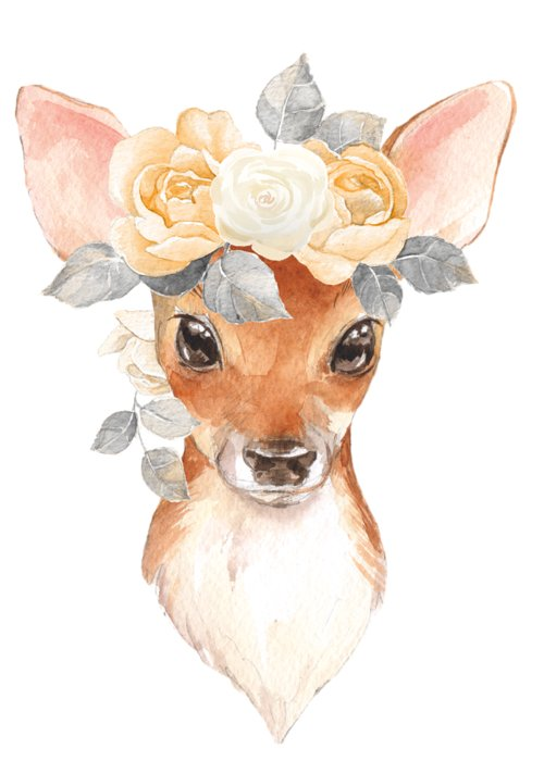Deer Greeting Card featuring the digital art Blush Floral Deer by Pink Forest Cafe