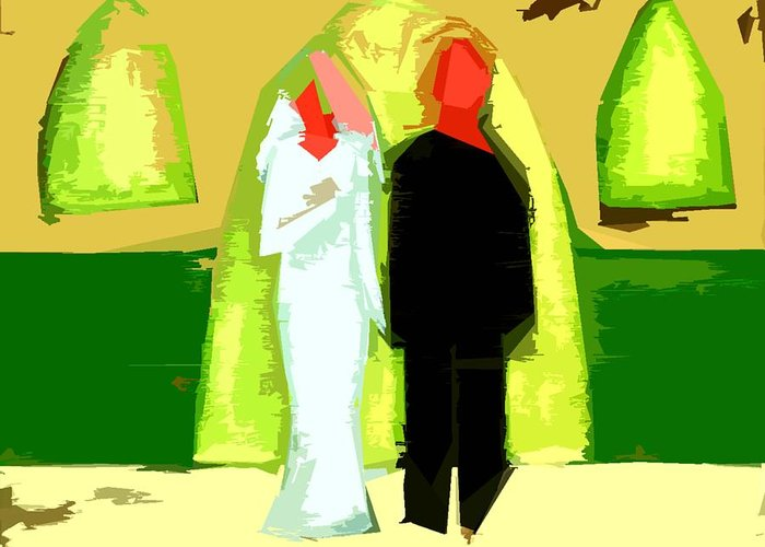 Wedding Greeting Card featuring the painting Blushing Bride And Groom 2 by Patrick J Murphy