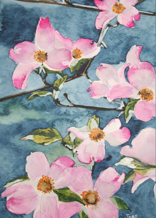 Flowers Greeting Card featuring the painting Blushing Prettily by Jean Blackmer