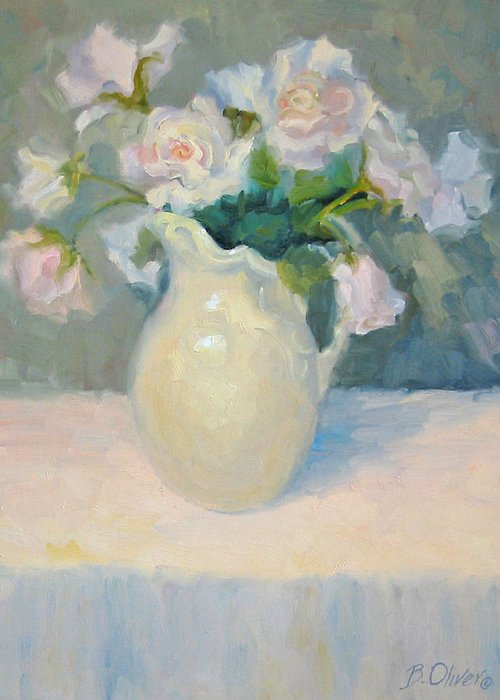 Still Life Greeting Card featuring the painting Blushing Roses by Bunny Oliver