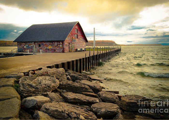 Door County Greeting Card featuring the photograph Blustery Day At Anderson Barn by Ever-Curious Photography