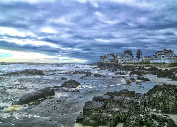 Mothers Beach Maine Greeting Card featuring the photograph Blustery Day by Dennis Baswell