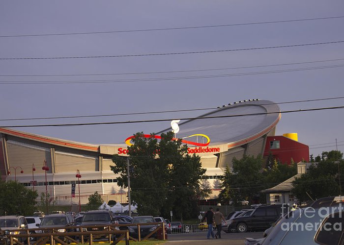 Saddledome Greeting Card featuring the photograph Bmo Parking Royal Event by Donna Munro