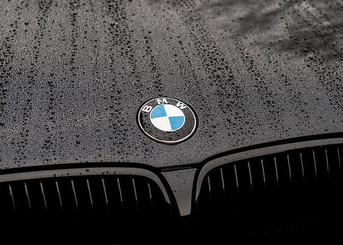 Bmw Emblem Logo In The Rain Greeting Card For Sale By Jurq Studio