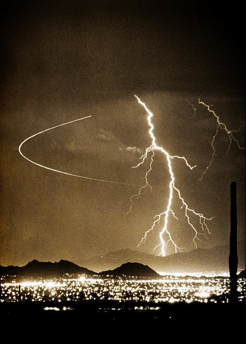 Lightning Greeting Card featuring the photograph Bo Trek Lightning Art by James BO Insogna