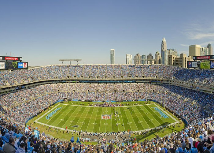 Bank Greeting Card featuring the photograph Boa Stadium Skyline by Clear Sky Images
