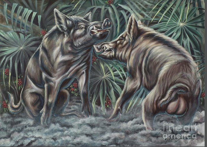 Nature Greeting Card featuring the photograph Boar Room Brawl by Monica Turner