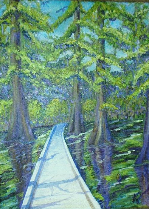 Cypress Greeting Card featuring the painting Boardwalk At Cypress Preserve by Sheri Hubbard