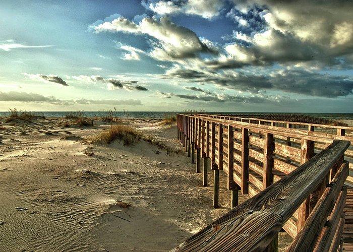 Alabama Photographer Greeting Card featuring the digital art Boardwalk On The Beach by Michael Thomas