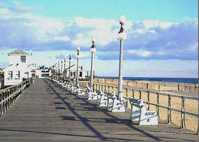 Boardwalk Greeting Card featuring the mixed media Boardwalk by Paul Barlo