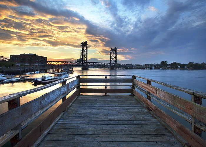 Prescott Park Greeting Card featuring the photograph Boardwalk Sunset by Eric Gendron
