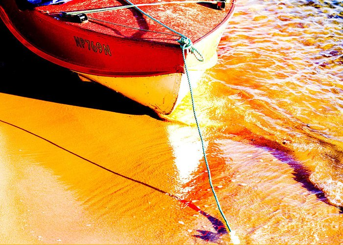Boat Abstract Yellow Water Orange Greeting Card featuring the photograph Boat Abstract by Avalon Fine Art Photography