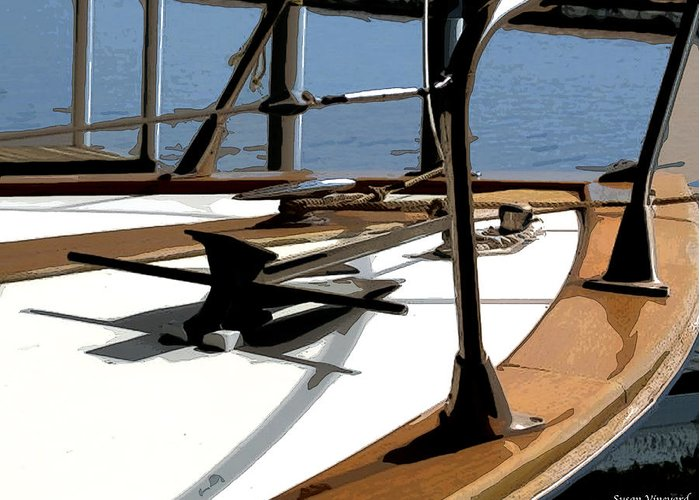 Chris Craft Greeting Card featuring the photograph Boat Anchor by Susan Vineyard