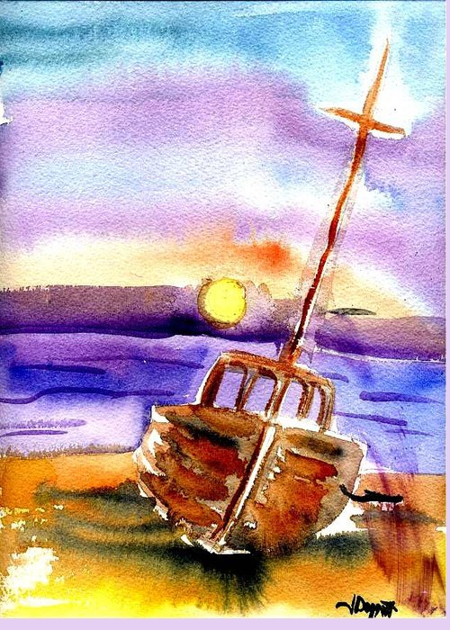 Boat Greeting Card featuring the painting Boat Ashore by Janet Doggett