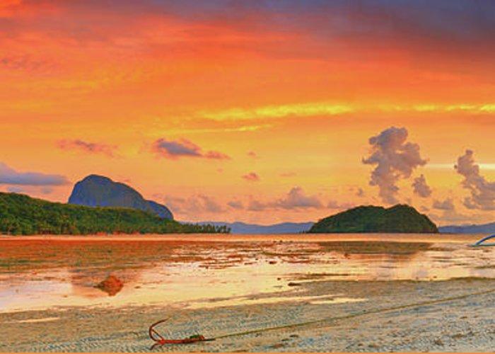 Bangka Greeting Card featuring the photograph Boat At Sunset by MotHaiBaPhoto Prints