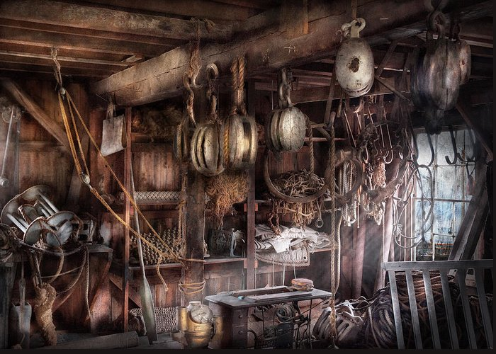 Suburbanscenes Greeting Card featuring the photograph Boat - Block And Tackle Shop by Mike Savad