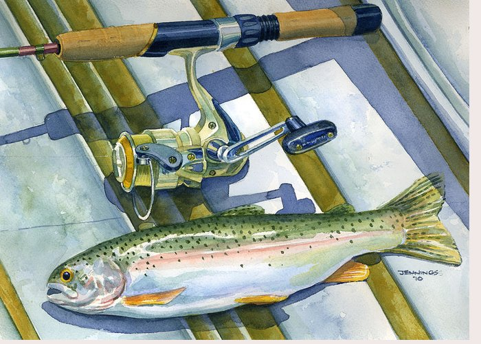 Boat Greeting Card featuring the painting Boat Bottom Trout by Mark Jennings