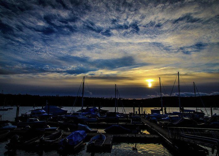 Boat Greeting Card featuring the photograph Boat Harbor At Sunset by Dan Pearce