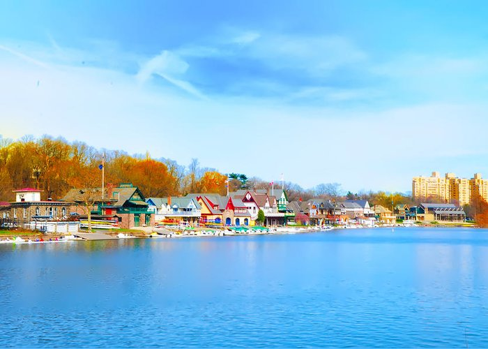 Philadelphia Greeting Card featuring the photograph Boat House Row From West River Drive by Bill Cannon