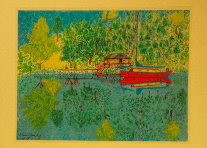 Bungalow Greeting Card featuring the painting Boat On Lake by Dennis Buchy