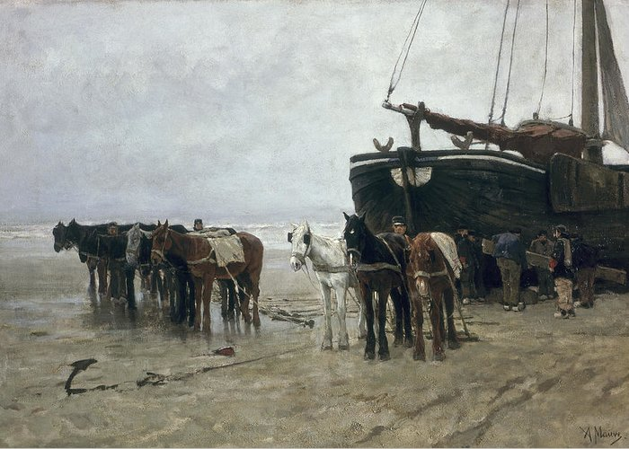 Boat Greeting Card featuring the painting Boat On The Beach At Scheveningen by Anton Mauve