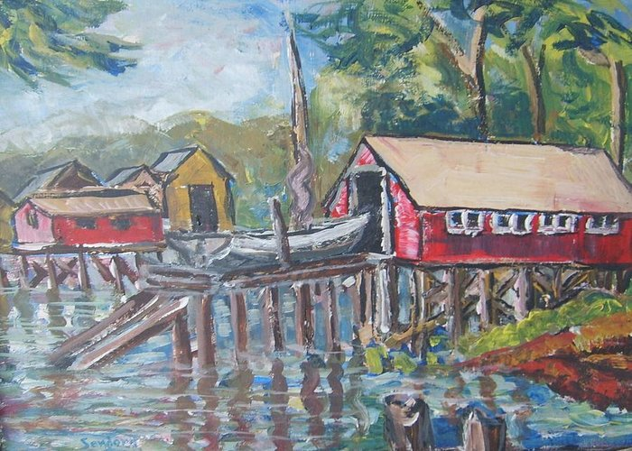 Seascape Boathouse Repair Station Boats Greeting Card featuring the painting Boat Repair by Joseph Sandora Jr