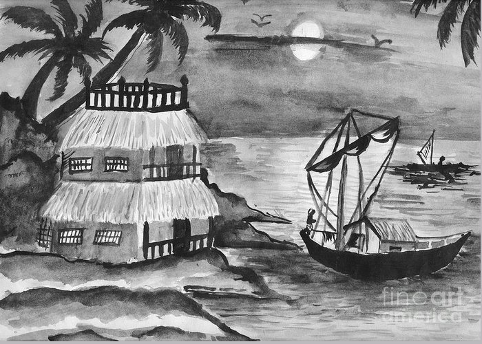 Nature Greeting Card featuring the painting Boat Sailing In Moon Light by Tanmay Singh