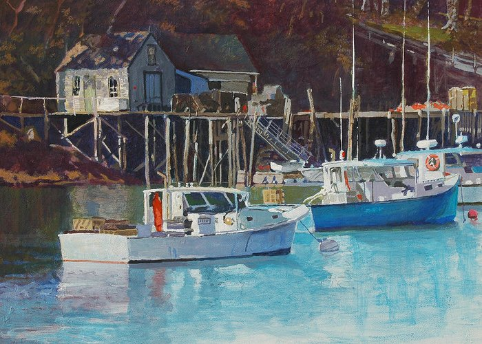 Maine Greeting Card featuring the painting Boat Shack by Robert Bissett