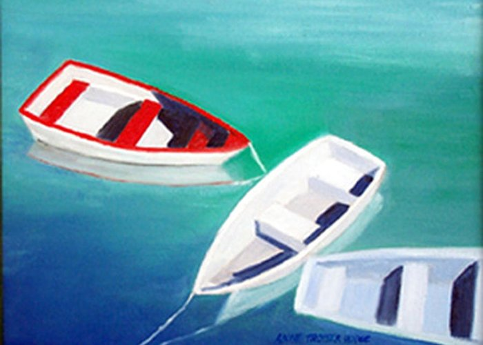Seascape Greeting Card featuring the print Boat Trio by Anne Trotter Hodge