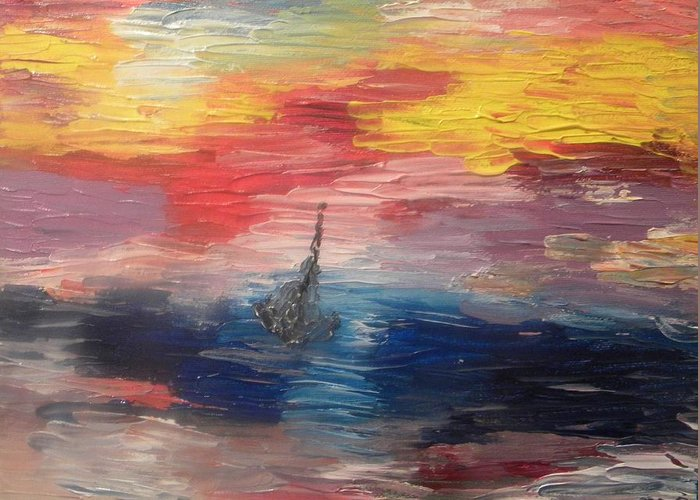 Seascapes Greeting Card featuring the painting Boat Under Storm by Carmen Kolcsar