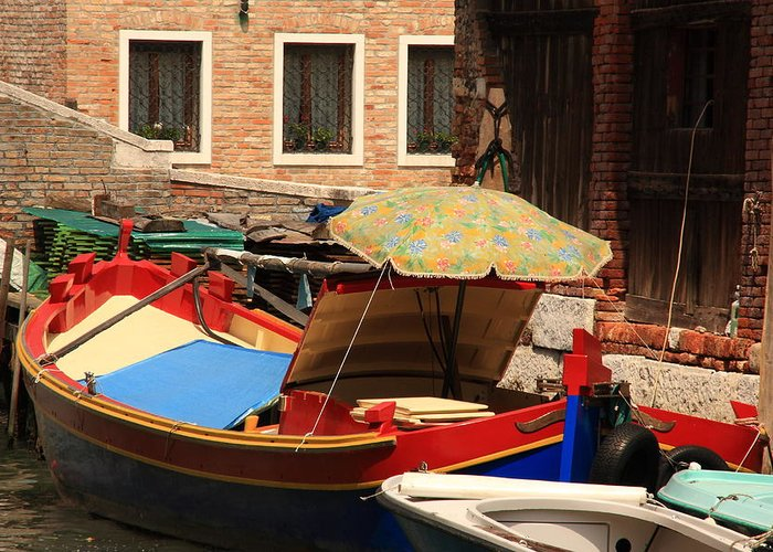 Venice Greeting Card featuring the photograph Boat With Umbrella On Canal In Venice by Michael Henderson