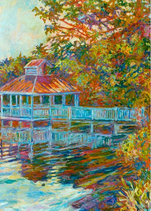 Mountain Lake Greeting Card featuring the painting Boathouse At Mountain Lake by Kendall Kessler