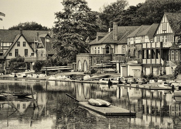 Boathouse Row In Sepia Greeting Card featuring the photograph Boathouse Row In Sepia by Bill Cannon