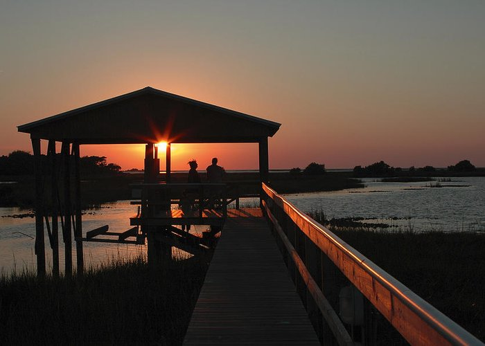 boat House Greeting Card featuring the photograph Boathouse Sunset by Stacey Lynn Payne