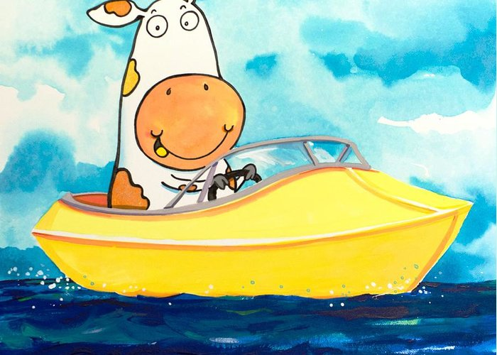 Cow Greeting Card featuring the painting Boating Cow by Scott Nelson
