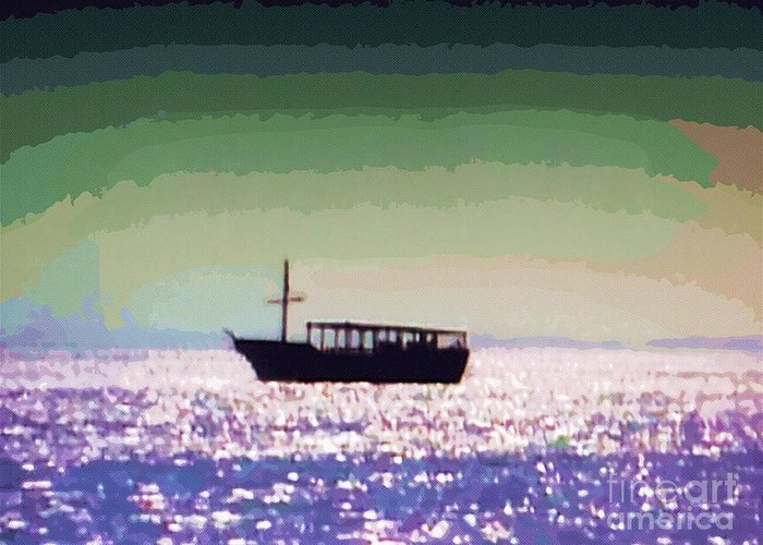 Boat In Water Greeting Card featuring the painting Boating Home by Deborah MacQuarrie-Selib