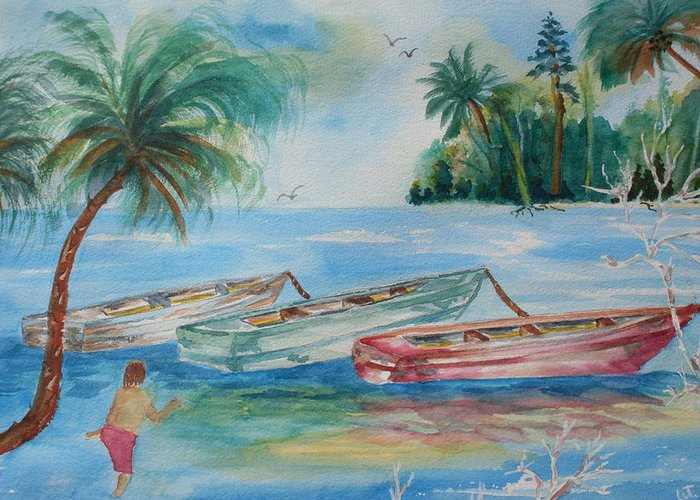 Boats Greeting Card featuring the painting Boats At Casey Key by Warren Thompson