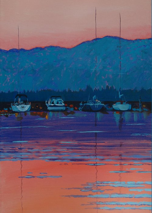 Sail Greeting Card featuring the painting Boats At Dusk by Robert Bissett