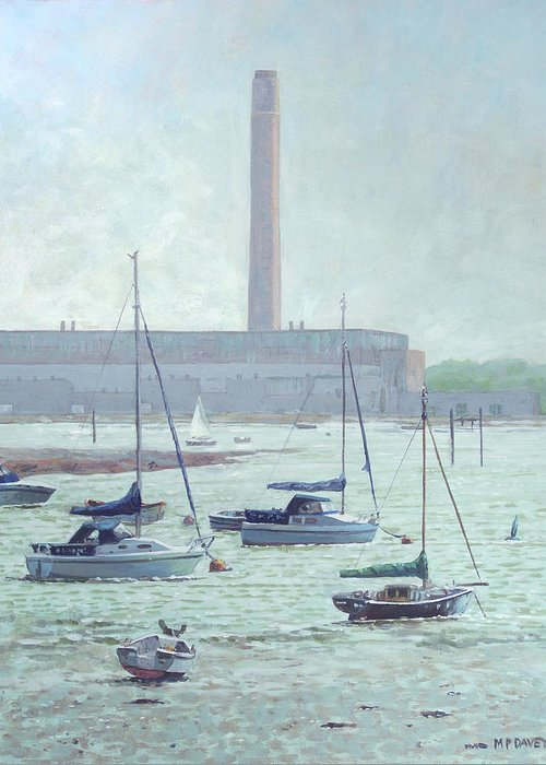 Boats Greeting Card featuring the painting Boats At Fawley Hampshire by Martin Davey