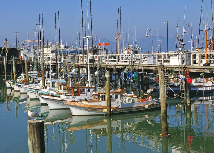 Boats Greeting Card featuring the photograph Boats At Fisherman by Tom Reynen